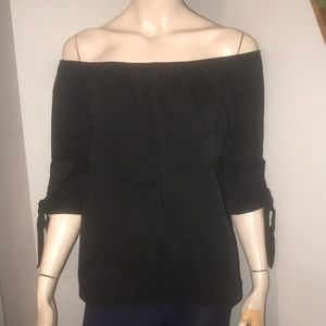 Off the Shoulder Blouse w/ Tie Sleeves Sz S